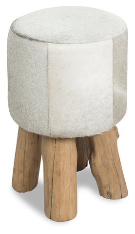 Cow Hide Round Stool Black/White