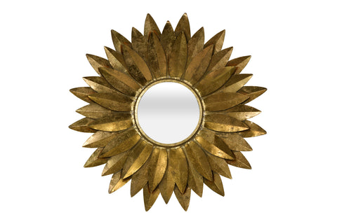 Nickel and Leather Round Mirror