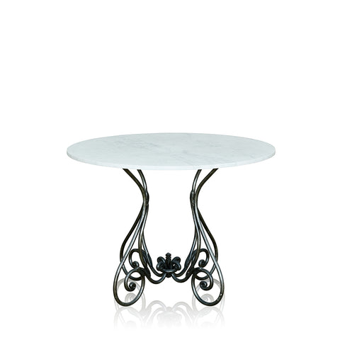 Paris Wrought Iron Dining Table With Marble Top Small Base