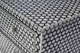 Hive Bone Inlay 4 Drawer Chest Black
