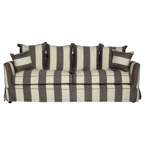Lauren Grey and Cream Striped 3 Seat Sofa