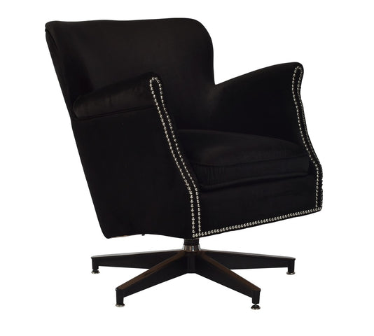 Swivel Armchair Black Velvet