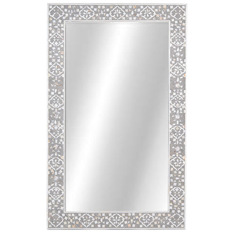 Octavia Mother of Pearl Inlay Mirror Moghul Flower Taupe and Grey