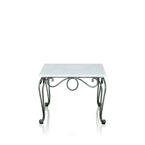 Chantilly Resort Wrought Iron Lamp Table With Marble Top Square