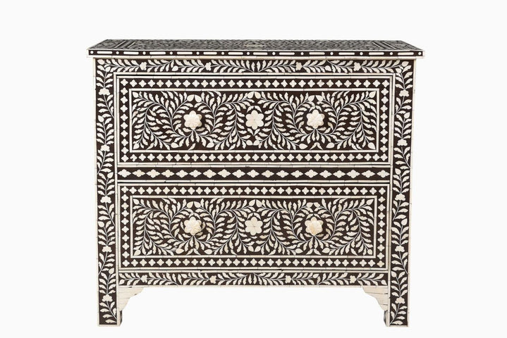 Samar Florentine Bone Inlay 2 Drawer Chest Brown
