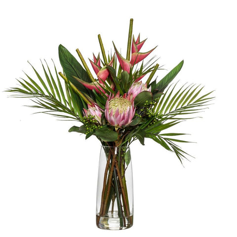 Tropical Protea Mix in Alana Vase