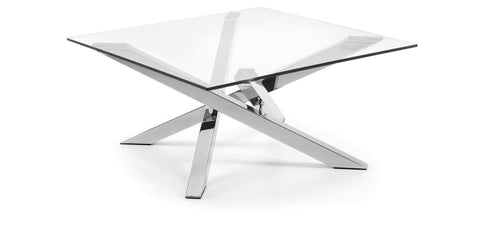 Rod Dining Table Clear Glass with Stainless Steel