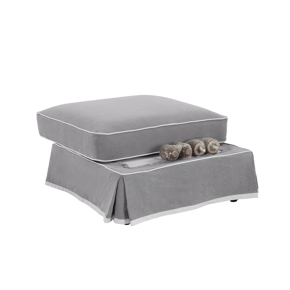 Montauk Ottoman Grey with White Piping