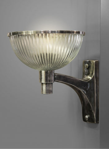 Astor Glass Wall Lamp Antique Silver