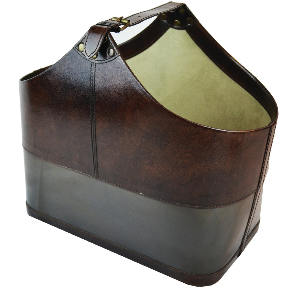 Leather Magazine Basket Dark