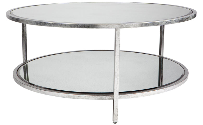 Cocktail Round Coffee Table Antique Silver