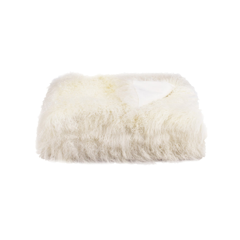 White Tibetan Fur Throw