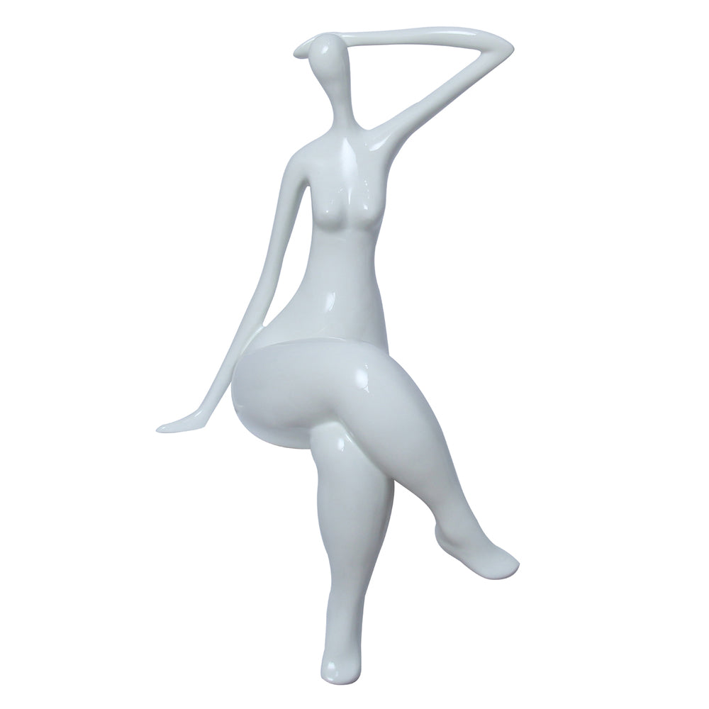 Lady Waiting Sculpture White