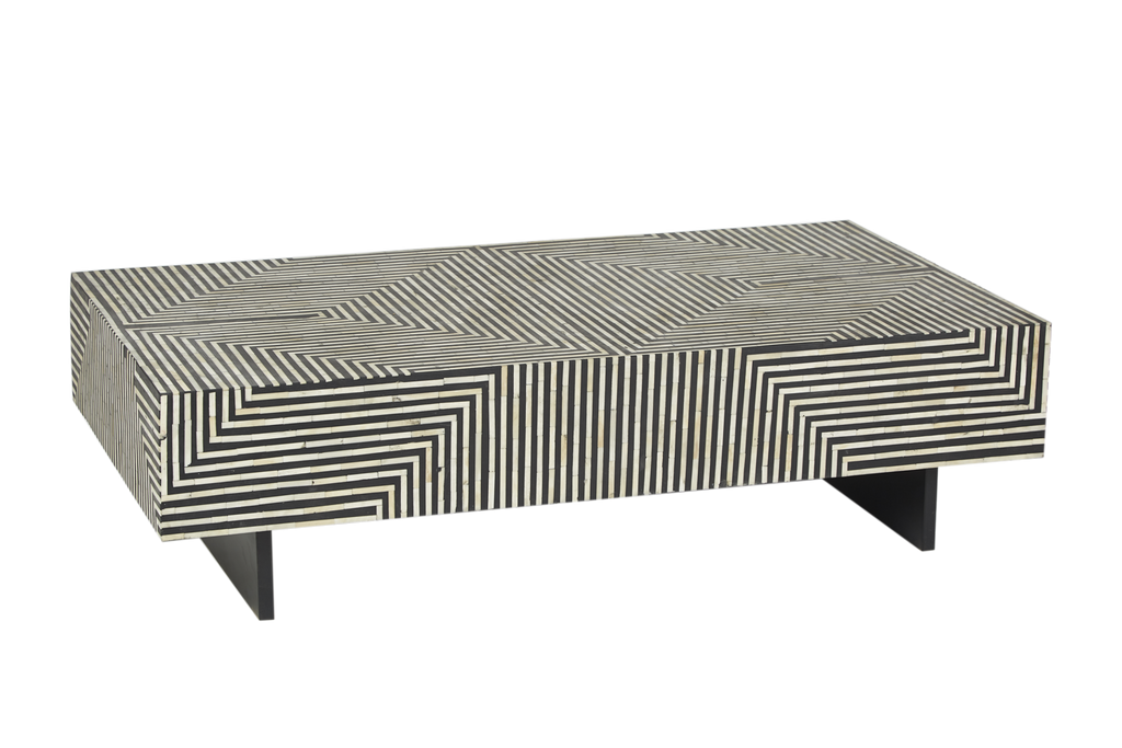 Zion Bone Inlay Coffee Table Bold Geometric Black And White Interiors Online