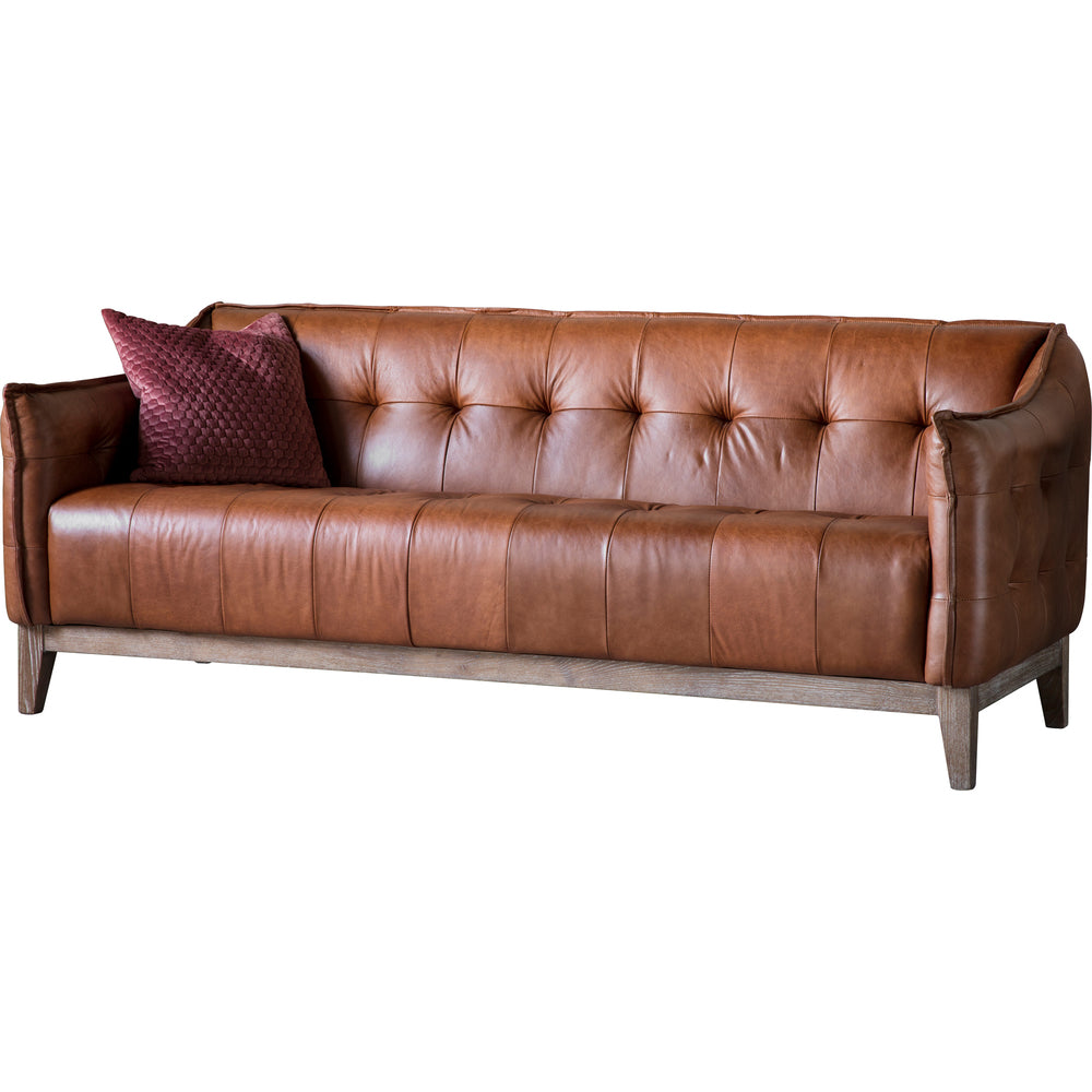 Norman Leather 3 Seat Sofa