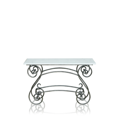 Paris Wrought Iron Coffee Table With Marble Top Large