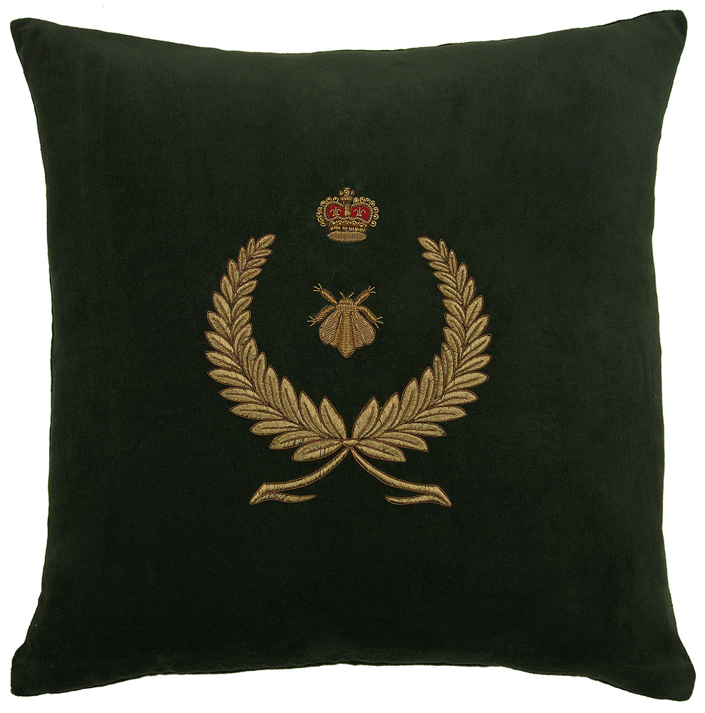 Wreath Bee and Crown Cushion Green