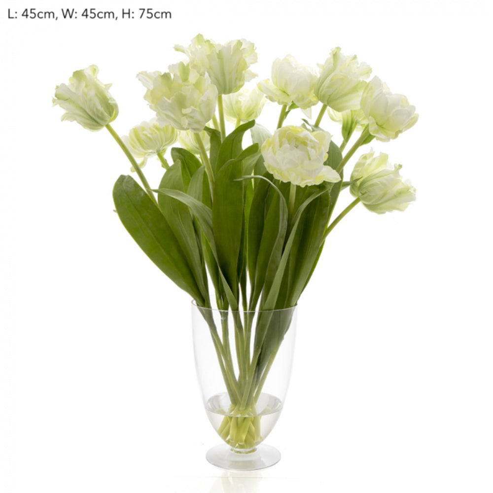 Harrogate Tulips In a Glass Vase White