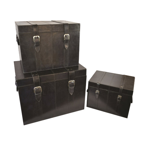 Hutchinson Set/3 Trunks Black Leather