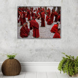 Debating Monks Photographic Canvas Print with Floating Frame