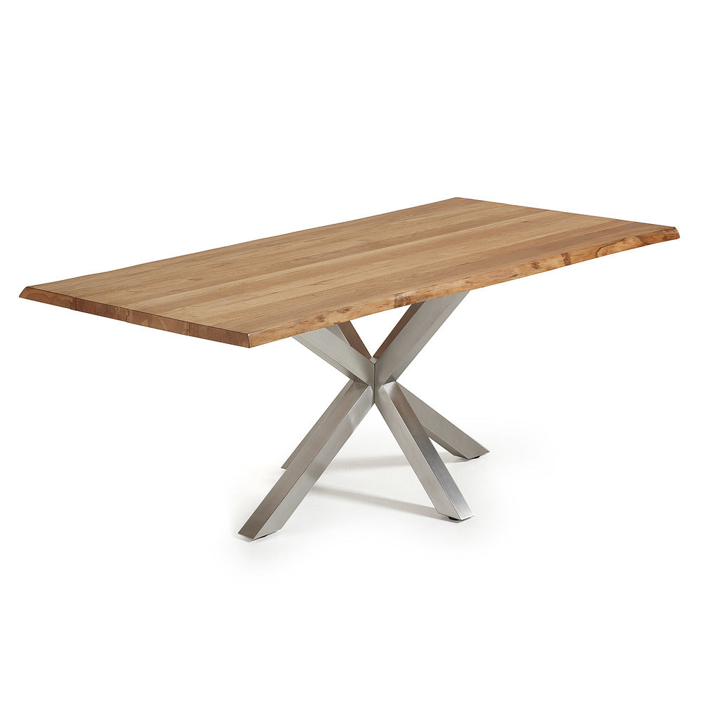 Masa Dining Table Stainless Steel Legs with Natural Oak Top