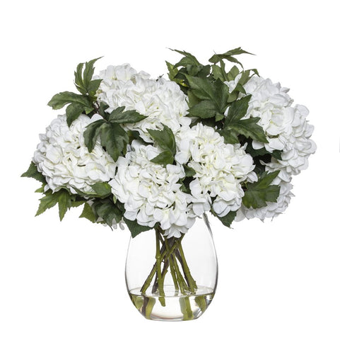 Hydrangea Maple Leaf Mix in Claire Vase White