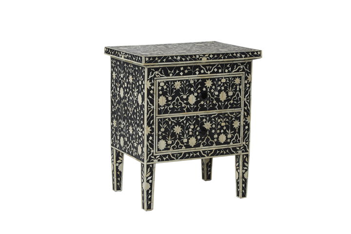 Janiya Bone Inlay Two Drawer Bedside Moghul Flower Black and White