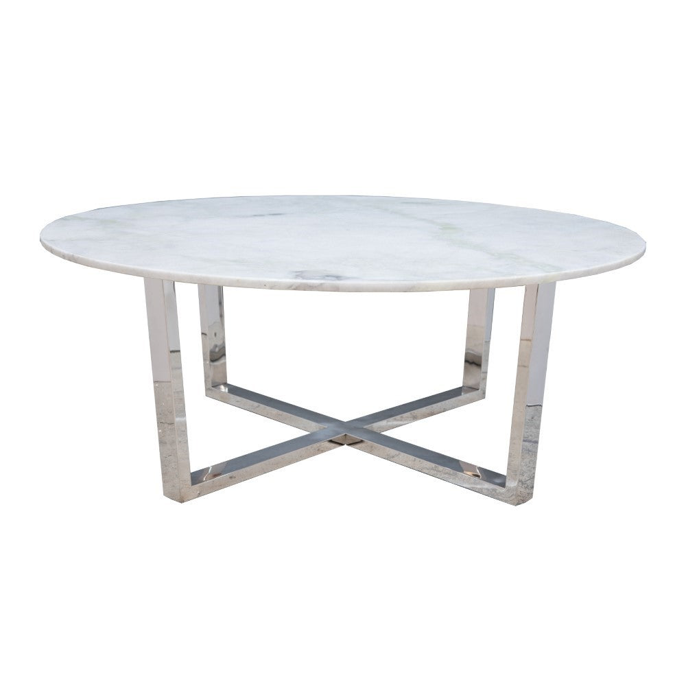 Ayton Stainless Steel Coffee Table with Marble top