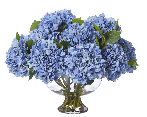 Garden Hydrangea Mix in Dahlia Bowl Large Blue
