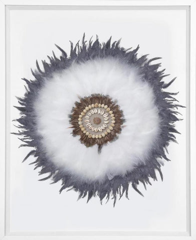 Macadamia Feathers White in White Frame