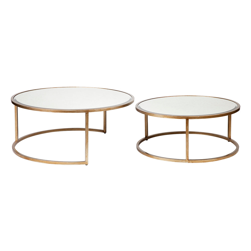 Martini Antique Glass Nesting Coffee Tables Set/2 Antique Gold Round