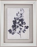 Blue Oak Leaf Print With Mirrored Frame