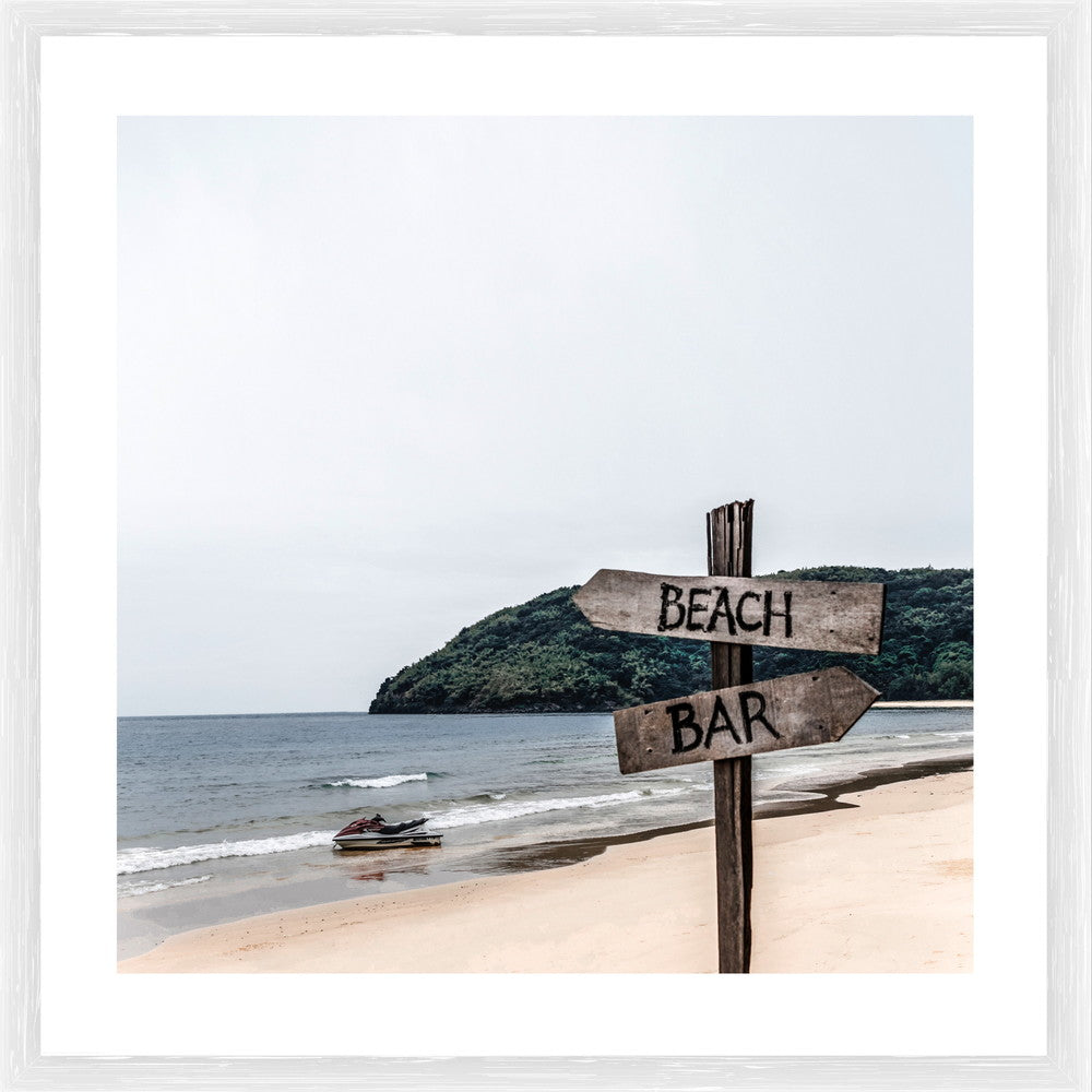 Beach Bar Sign Photographic Print with Frame