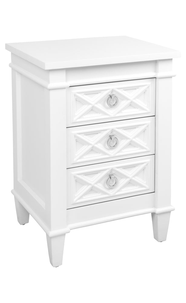 Plantation Bedside Table White Small