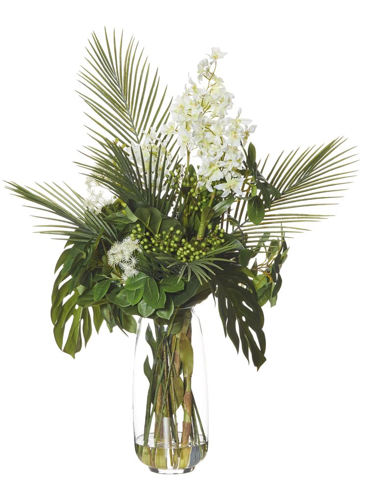 Exotic Mix in Harper Vase White