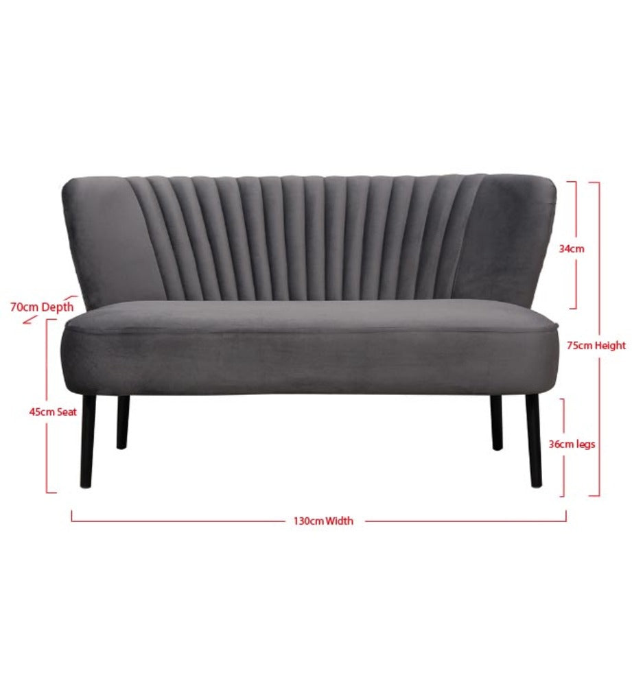 Coco Velvet Two Seater Sofa Charcoal