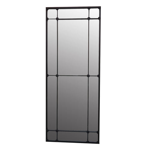 12 Pane Black Iron Mirror