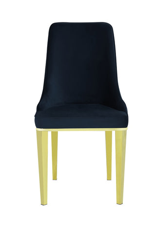 Pair of Lemante Dining Chairs Black with Gold Legs