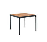 Four Dining Table Black Frame with Bamboo Top 90cm x 90cm