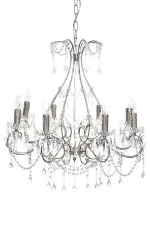 Houston Chandelier 8 Arm Antique Silver