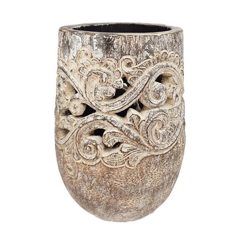 Carved Palm Pot Black