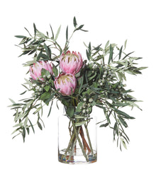 Protea and Olive Mix in Pail Vase Pink