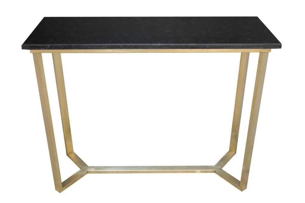 York Antique Brass Console Table with Granite Top