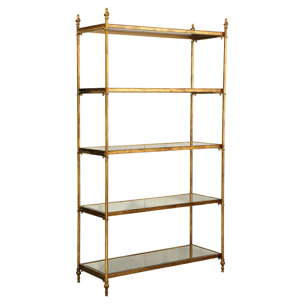 Gold Display Unit with Mirrored Shelves
