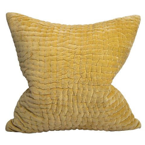 Fatima Velvet Square Cushion Yellow
