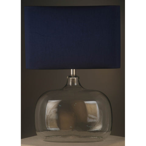 Torquay Glass Dome Lamp With Blue Shade