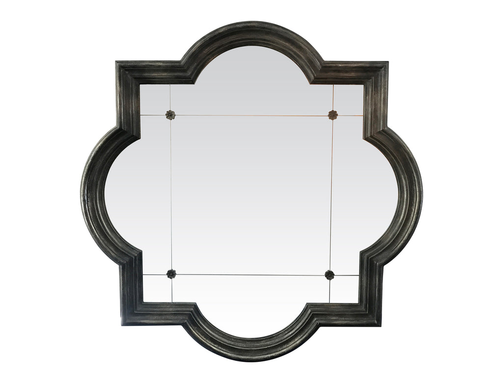 Square Mirror with Curved Edges Black/Grey