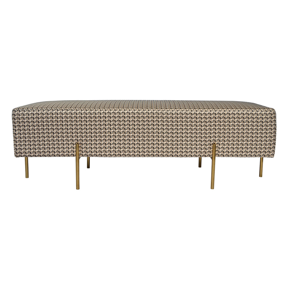 Coco Bench/Ottoman Black and Gold Tweed
