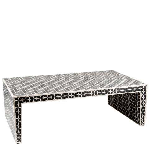 Zandina Bone Inlay Coffee Table Geometric Black and White