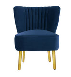 Slipper Chair French Navy with Gold Legs